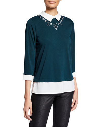 Jewel-Neck Poplin Sweater Twofer Top