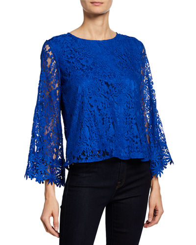 Floral Lace Top w/ Bell Sleeves