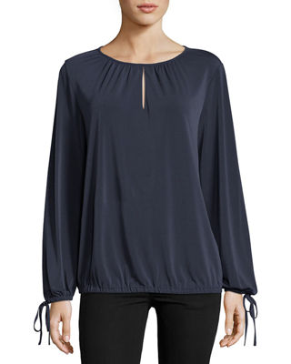 5TWELVE Long-Sleeve Ruched Keyhole Blouse in Navy
