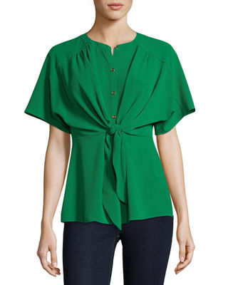 5TWELVE Knotted Front Button-Down Blazer in Green