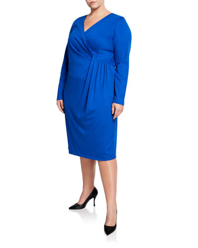 Long-Sleeve V-Neck Dress with Pleated Drape  Plus Size
