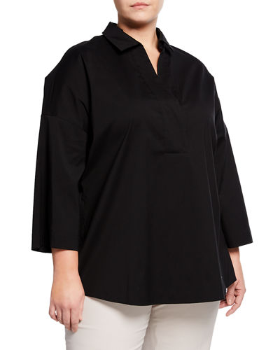 Baldwin Collared Long-Sleeve Blouse, Plus Size