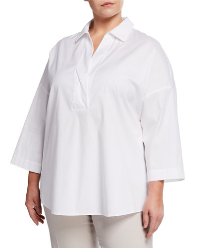 Baldwin Collared Long-Sleeve Blouse  Plus Size