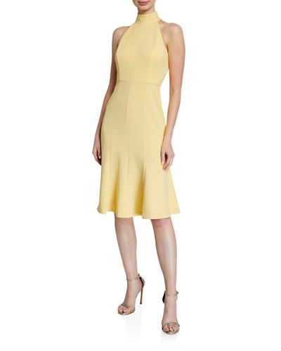 Crepe Fit-and-Flare Halter Dress