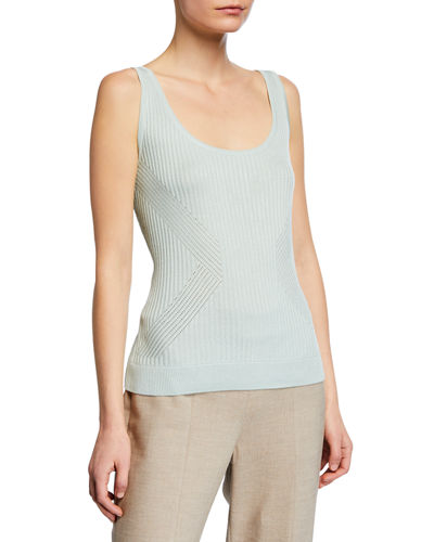 Rib-Knit Scoop Neck Shell Top