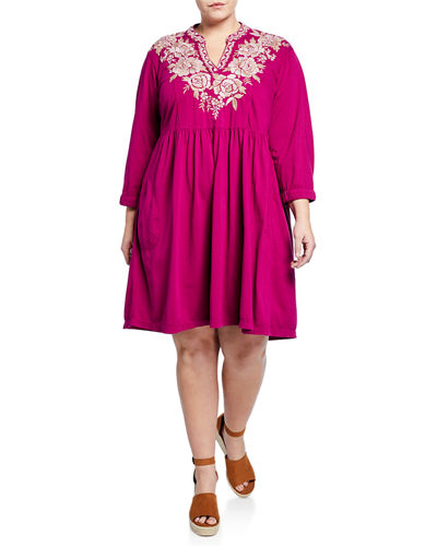 Oleena Knit Embroidered Dress w/ Embroidery  Plus Size