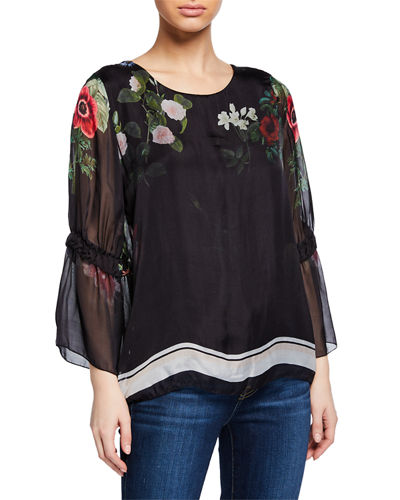 Floral-Print Blouse with Bell Sleeves