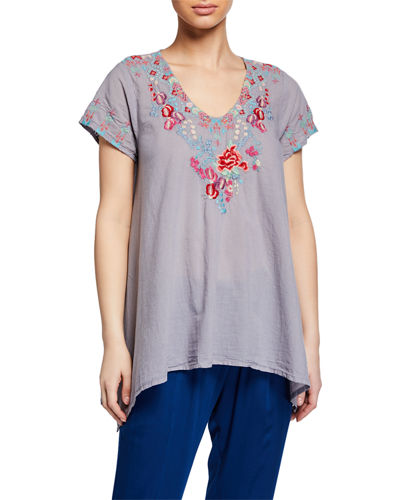 Johnny Was Hinga Embroidered Voile Tunic