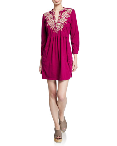 Oleena Henley Floral Embroidered Dress