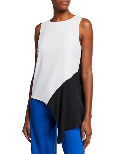 Asymmetric Colorblock Satin Top