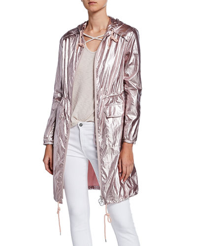 Iridescent Hooded Anorak Coat