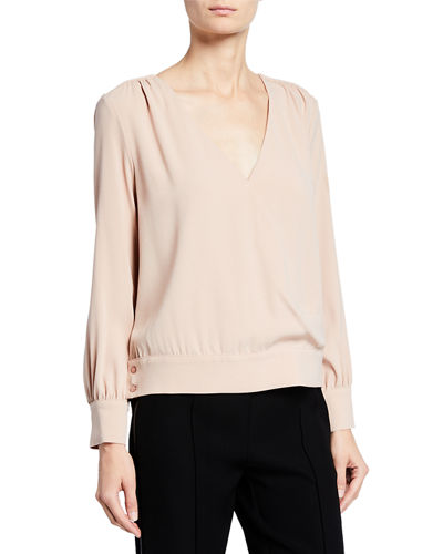 Stassi V-Neck Button Blouse
