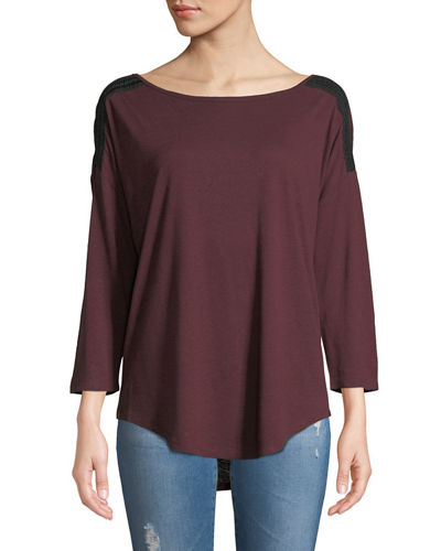 3/4-Sleeve Knit Tee w/Braided Shoulder Trim