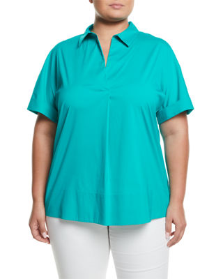 LAFAYETTE 148 NEW YORK PLUS Damon Collared Short Sleeve Blouse, Plus Size in Cove