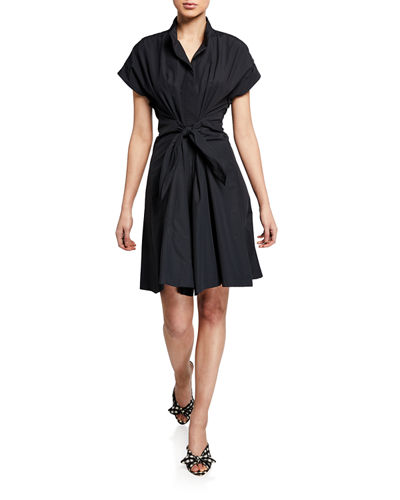 Rocky Tie-Detail Poplin Dress
