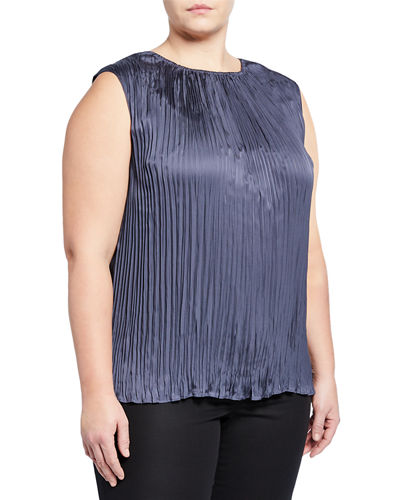 Plus Size Janetta Pleated Sleeveless Blouse