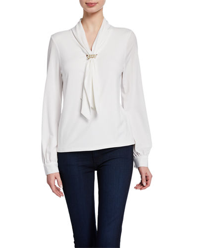 Tie-Neck Long-Sleeve Knit Top with Pearlescent Cluster