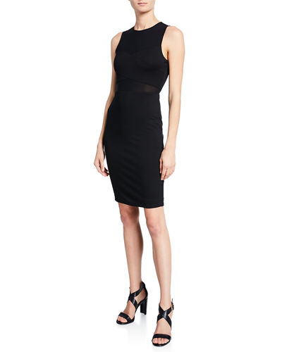 Nowhere to Run Mesh-Waist Sheath Dress
