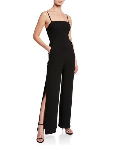 Square-Neck Split-Leg Ankle Jumpsuit