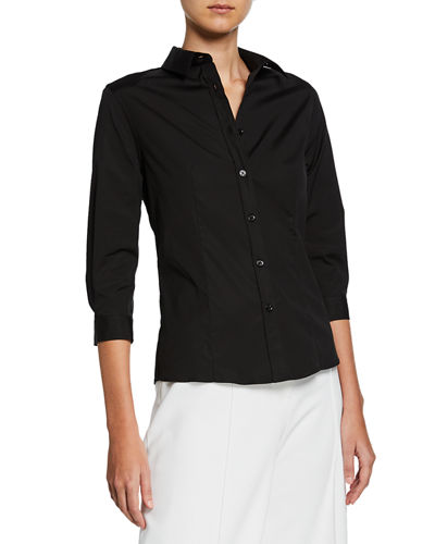 Classic 3/4-Sleeve Button-Front Cotton Blouse