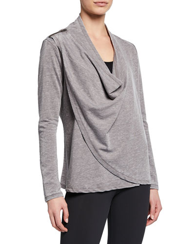 Celeste Cardi Cowl-Neck Wrap-Front Top