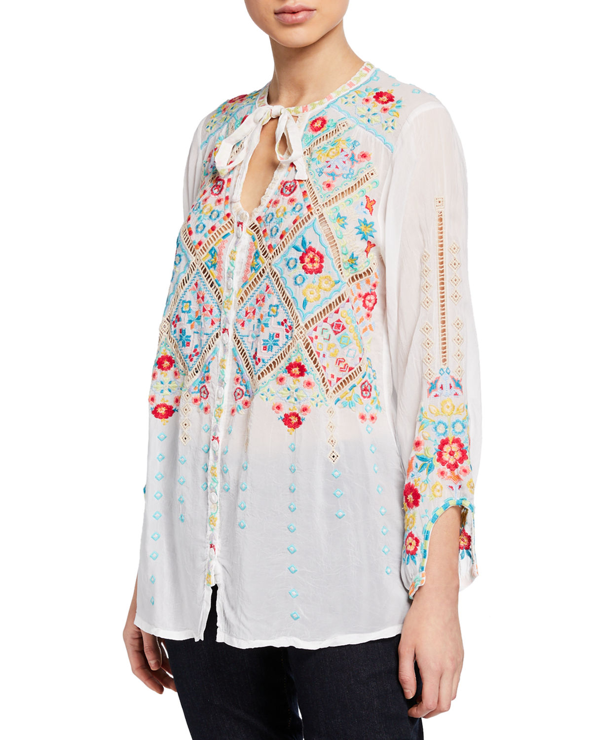 Johnny Was Tops ARGES EMBROIDERED GEORGETTE BLOUSE