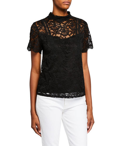 Lace Mock-Neck Illusion Top