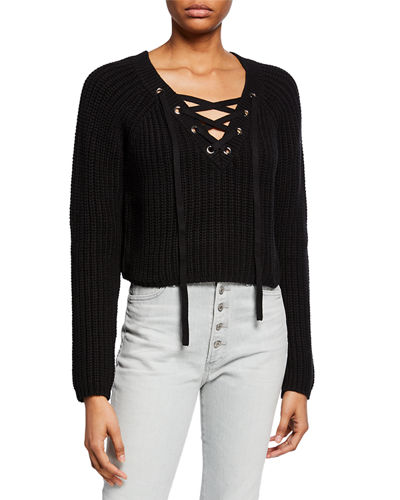 Long-Sleeve Lace-Up Cropped Sweater