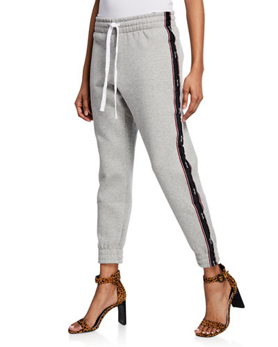 Drawstring Fleece Sweatpants with Side-Stripe