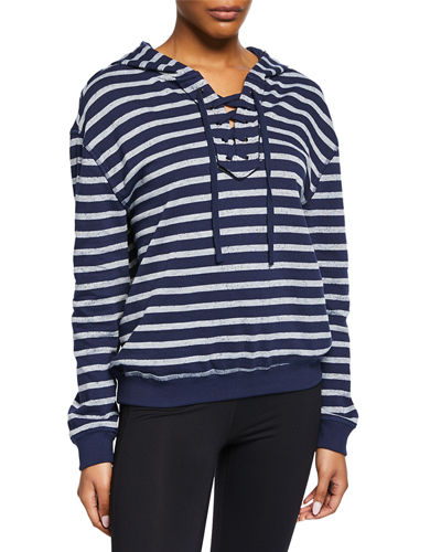 Striped Lace-Up French Terry Pullover Hoodie