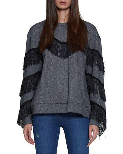 Alexis Long-Sleeve Fringe Sweatshirt