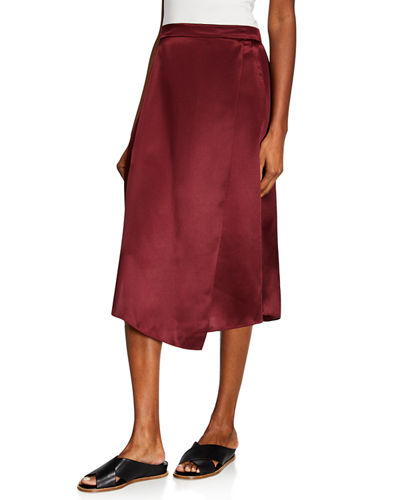 1296e9cb7f82b Draped Panel Silk Midi Skirt