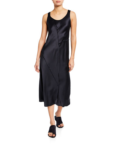 Raw Edge Midi Slip Tank Dress