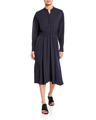 Long-Sleeve Mixed-Media Midi Dress