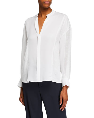 Mixed-Media Long-Sleeve Blouse