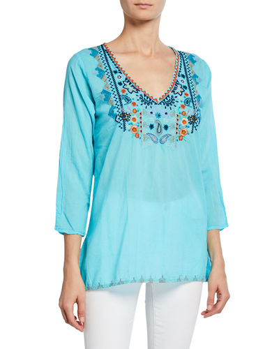 Maya Embroidered 3/4-Sleeve Blouse