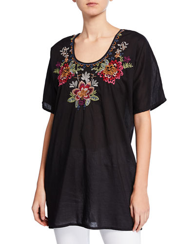 Shaylee Embroidered Cotton Blouse