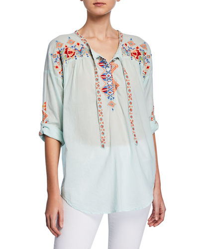 Gina Embroidered Tie-Front Cotton Blouse