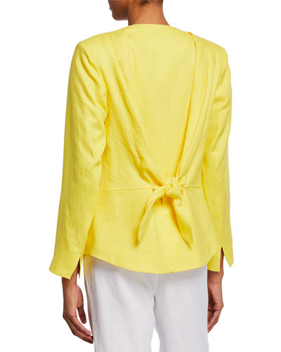 Tie-Back Linen Open Front Jacket