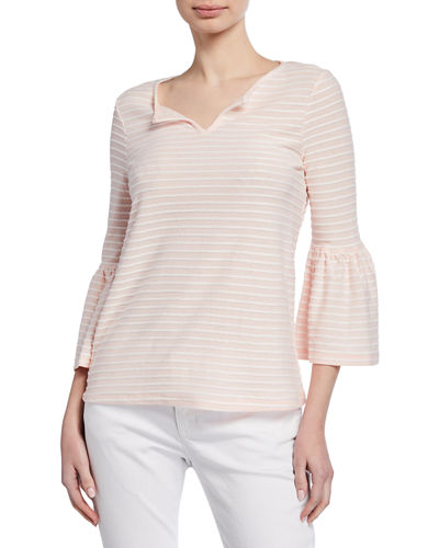 Hatchi Striped Bell-Sleeve Top
