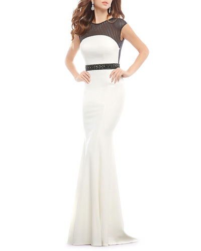 Two-Tone Mesh Illusion Trumpet Gown