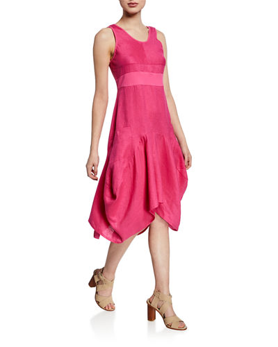 Rib Waist Handkerchief A-Line Dress w/ Patch Pockets
