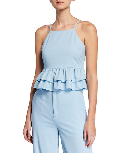 Crepe Peplum Crop Top