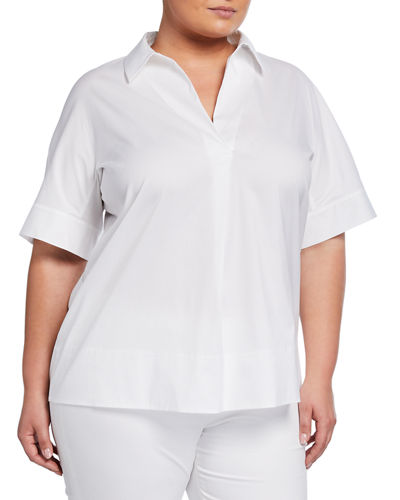 Plus Size Damon Collared Short Sleeve Blouse