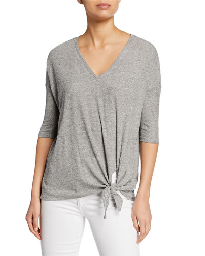Ribbed Side-Tie 3/4-Sleeve Top