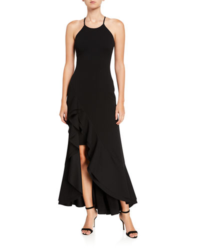 Ruffle-Hem Crepe Sheath Gown