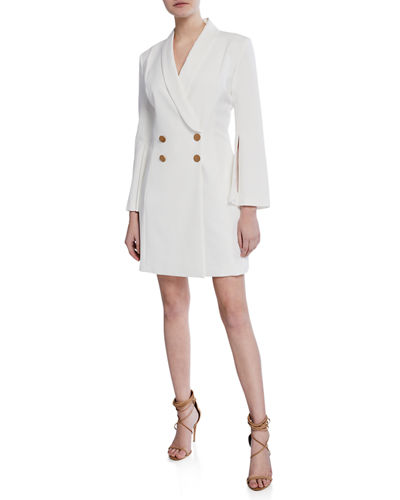 Double-Breasted Long-Sleeve Crepe Blazer Dress