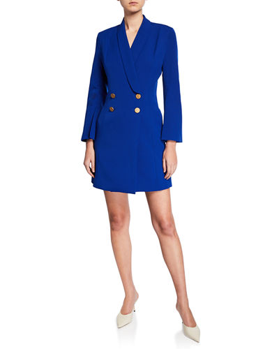 08627673dc9b Double-Breasted Long-Sleeve Crepe Blazer Dress