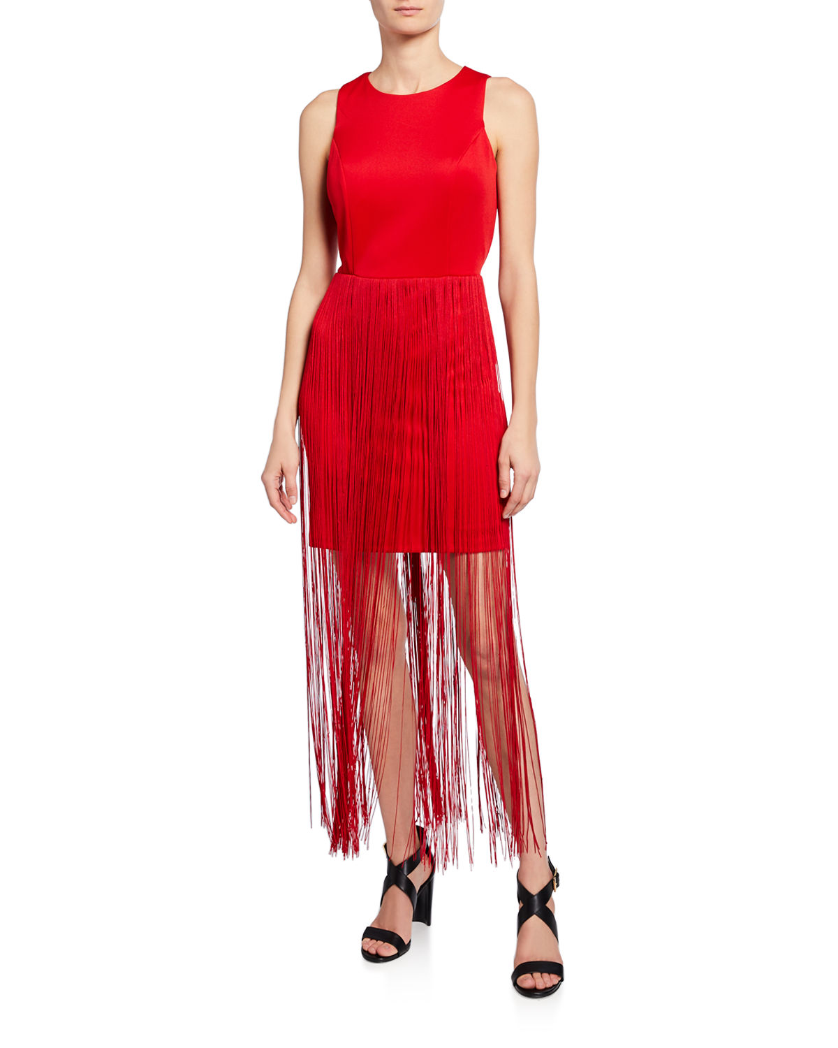 Fringe T-Length Sheath Dress