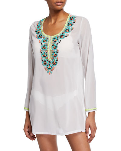 Embroidered Tunic Coverup